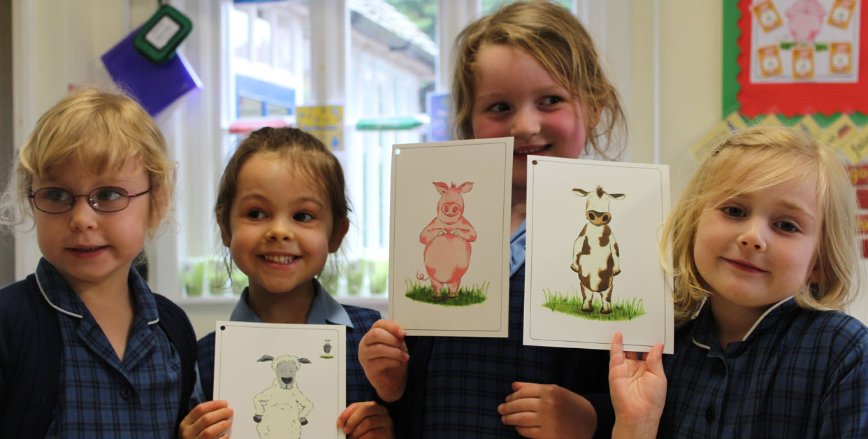 Using child friendly animal characters as a hook to assist children in their cognitive organisation.
